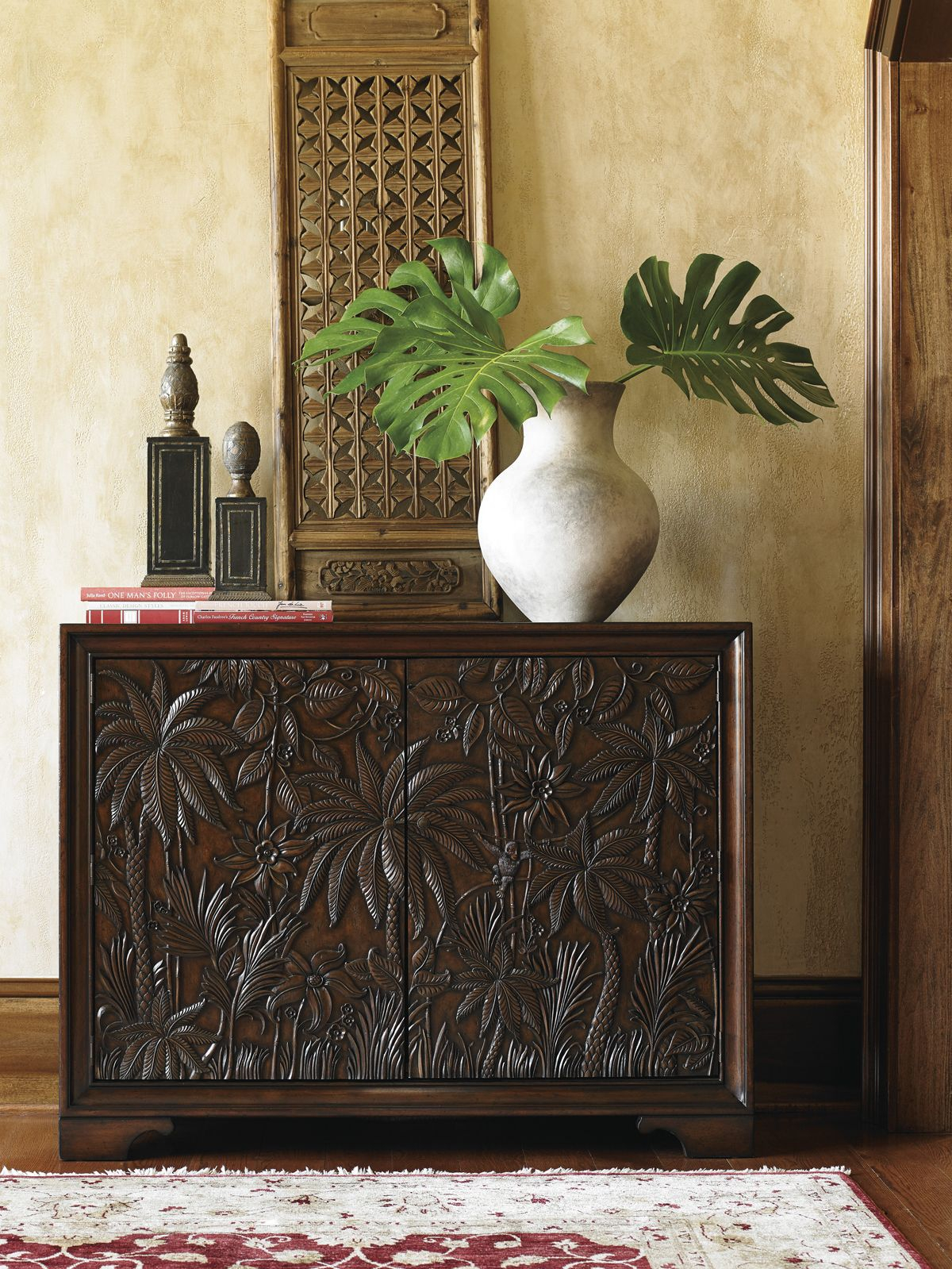 Carved Palm Tree Chest   Tommy Bahama Home #coastaldesign Pertaining To Balboa Carved Console Tables (View 14 of 30)