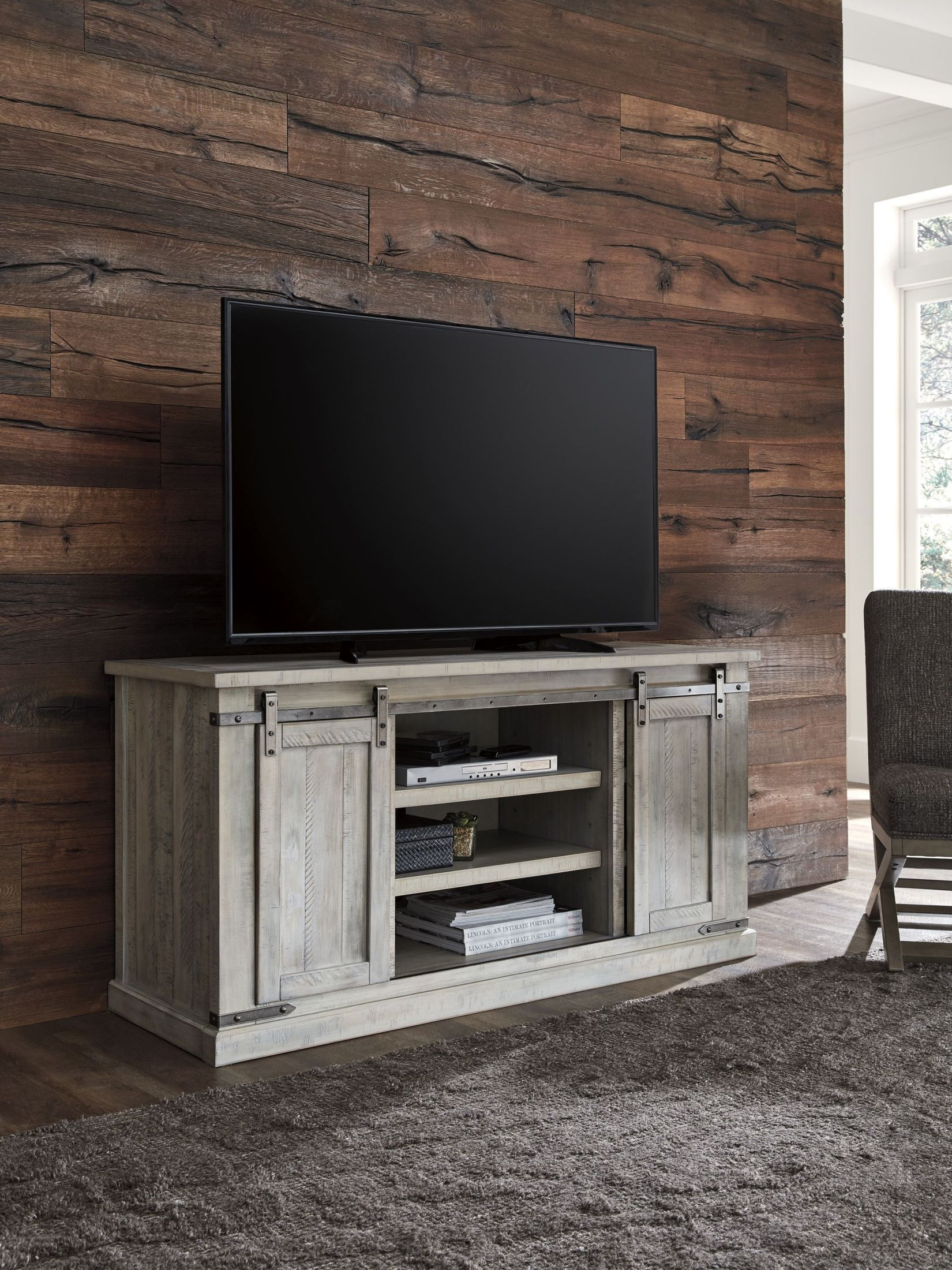 Carynhurst White Wash Large Tv Stand From Ashley | Coleman Furniture Pertaining To Vista 68 Inch Tv Stands (View 20 of 30)