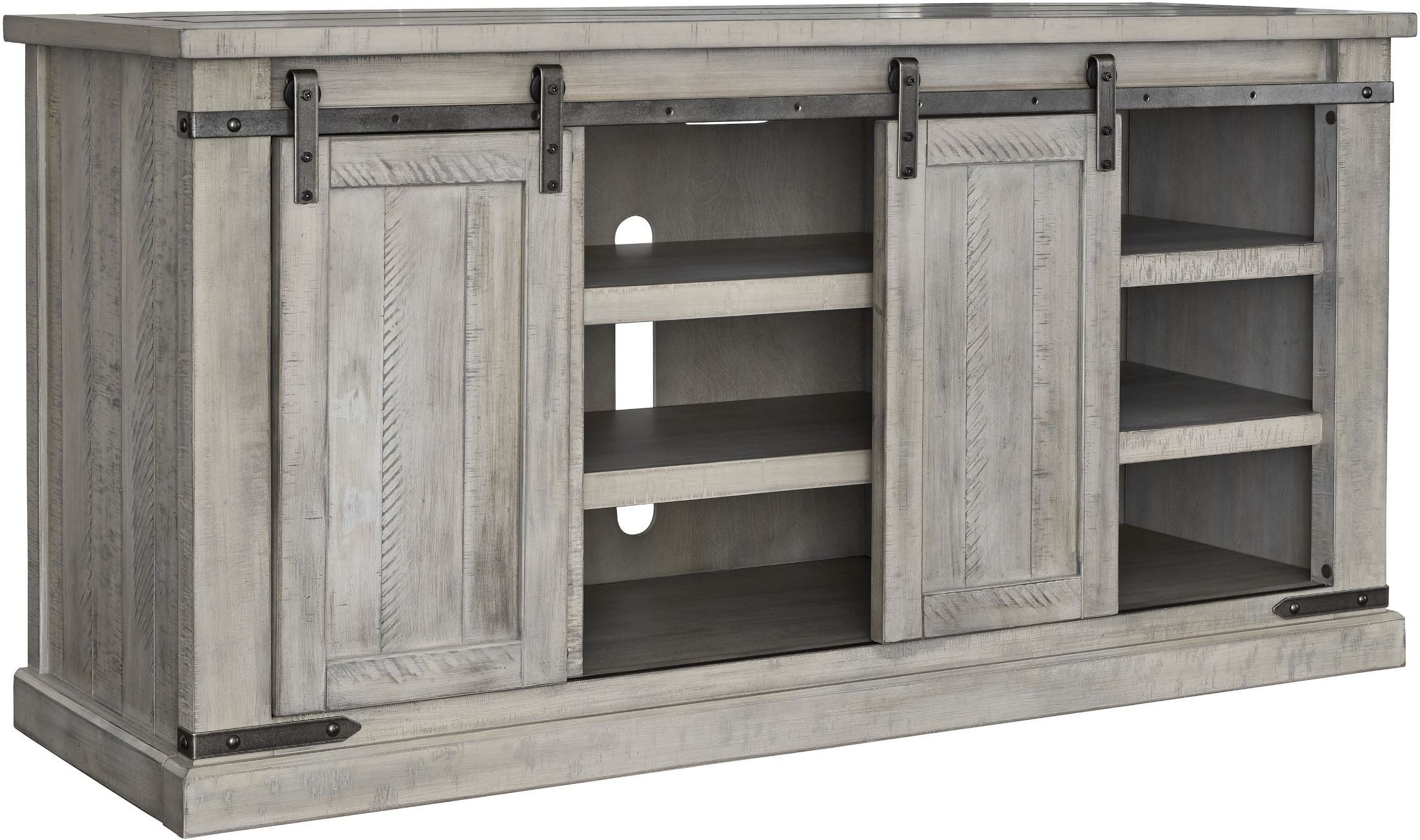 Carynhurst White Wash Large Tv Stand From Ashley | Coleman Furniture Within Vista 68 Inch Tv Stands (View 4 of 30)