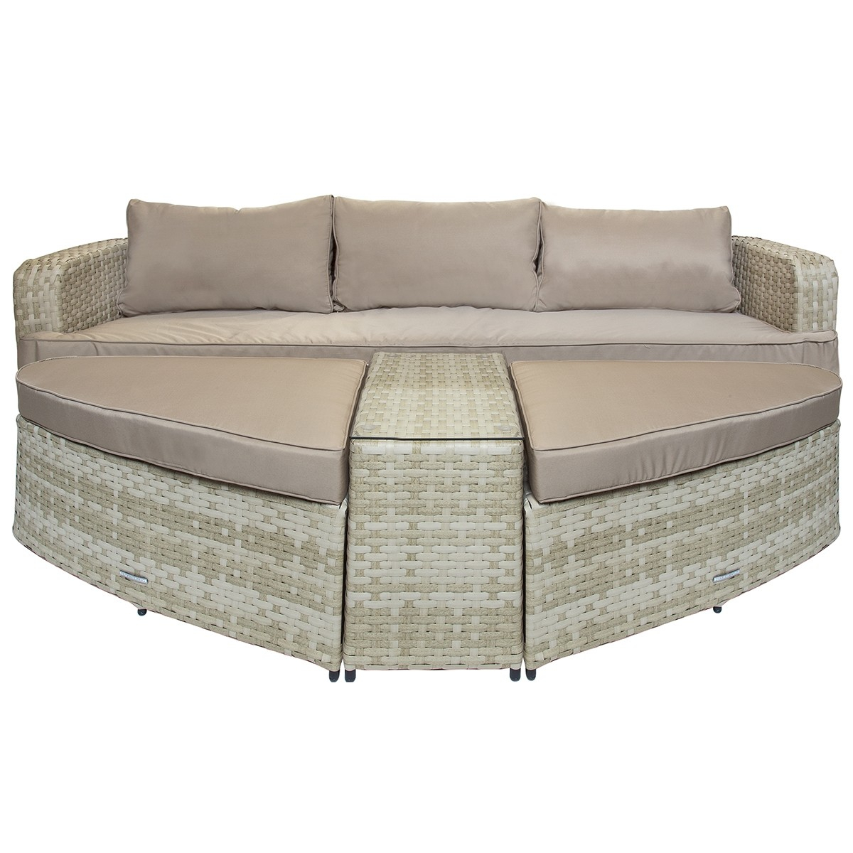 Charles Bentley Roma Rattan Sofa Two Large Footstools Table Natural Sand  Tone for Natural Cane Media Console Tables (Image 9 of 30)