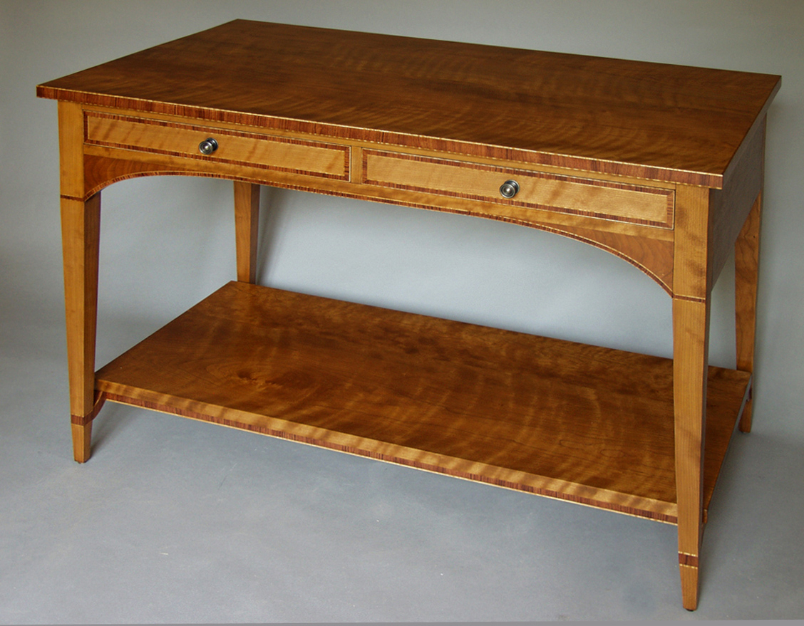 Cherry And Bubinga Console | Dorset Custom Furniture | Dan Mosheim Throughout Orange Inlay Console Tables (View 11 of 30)