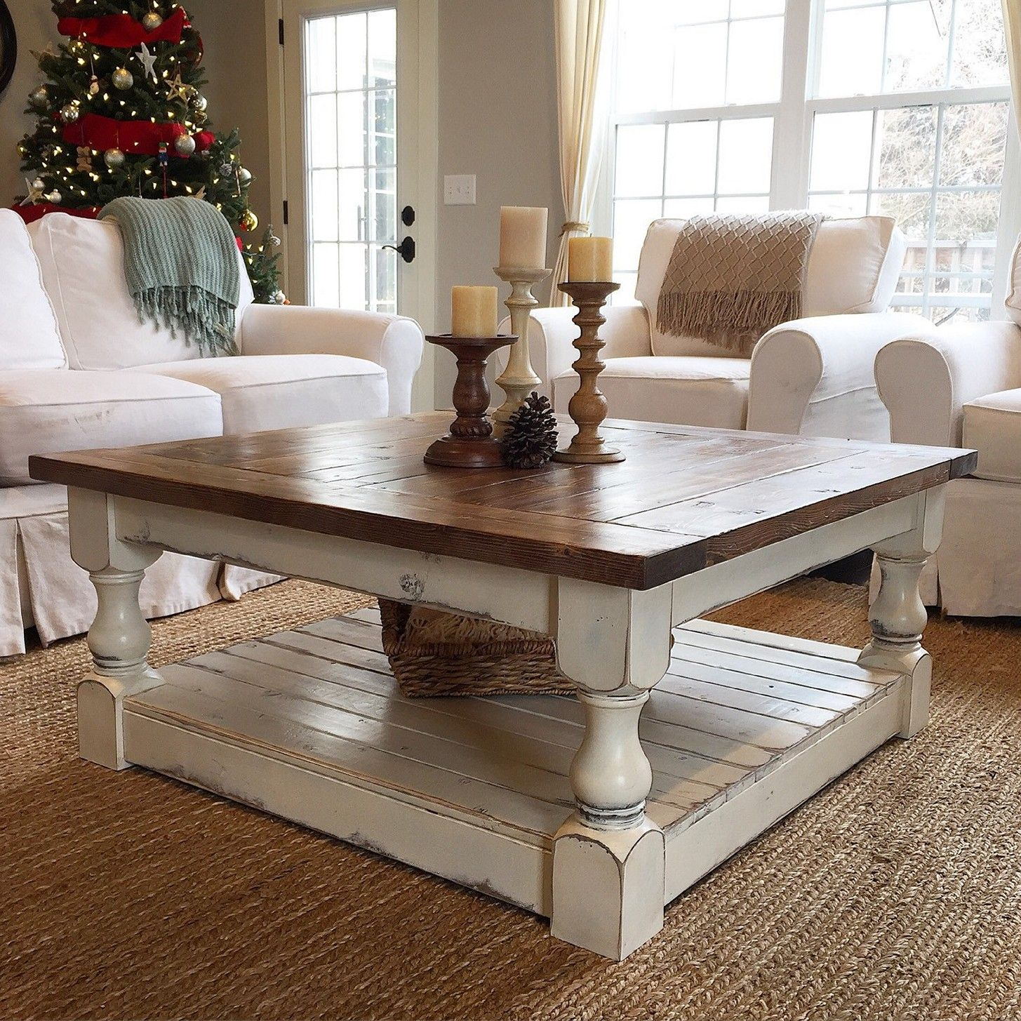 Chunky Farmhouse Coffee Table Pictures … | Furniture In 2019… intended for Antique White Distressed Console Tables (Image 3 of 30)