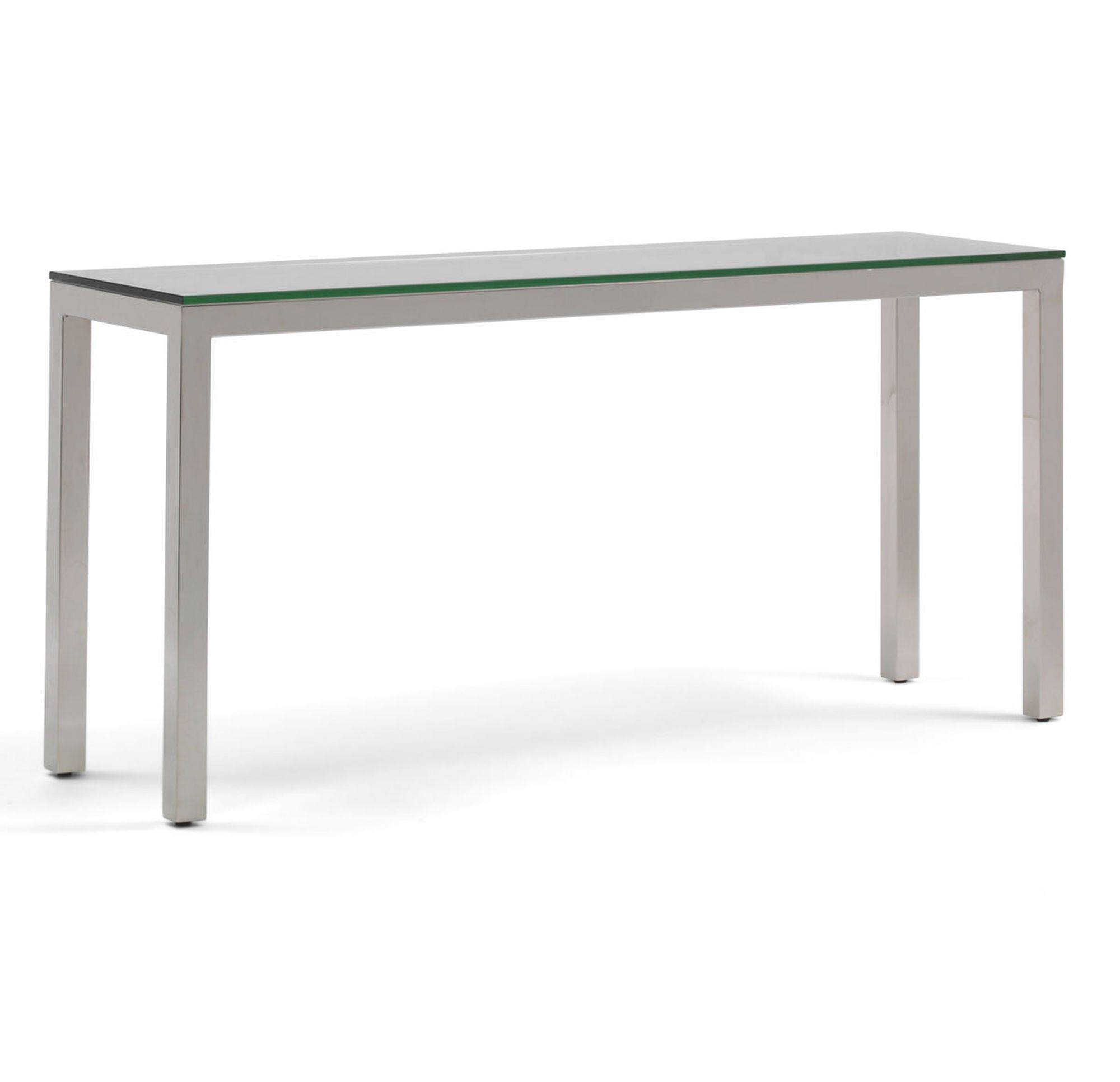 Classic Parsons Console Table – Polished Stainless Steel, , Hi Res Throughout Parsons Clear Glass Top & Brass Base 48x16 Console Tables (View 9 of 30)