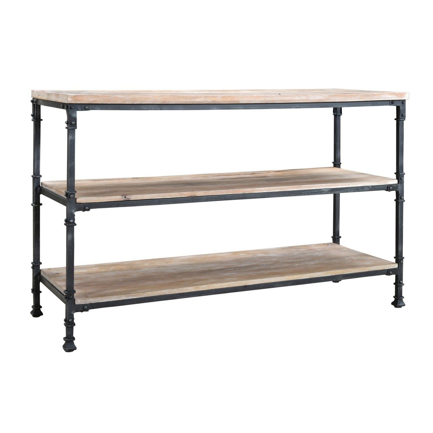 Coast To Coast 79709 Industrial Console Table In Aged Gunmetal Within Gunmetal Media Console Tables (View 23 of 30)
