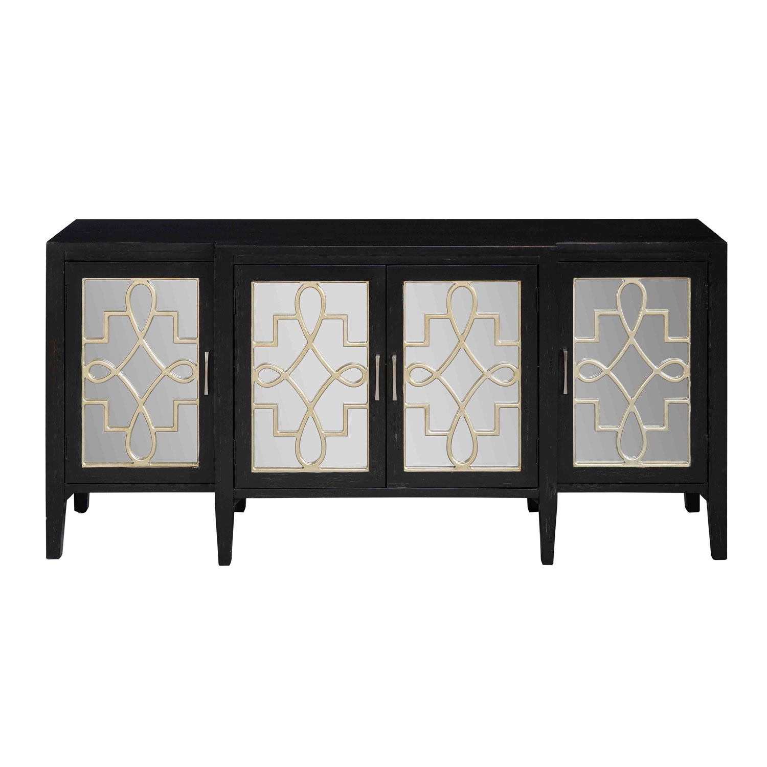 Coast To Coast Imports Black Four Door Media Credenza 70756 | Bellacor intended for Annabelle Black 70 Inch Tv Stands (Image 10 of 30)