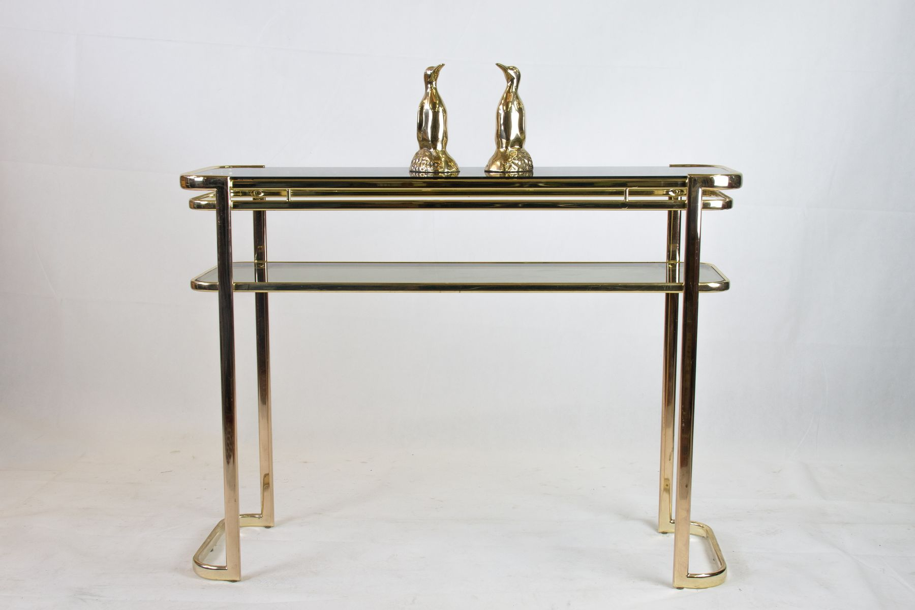 Console Table With Brass Frame & Glass Topmilo Baughman For Intended For Era Glass Console Tables (View 6 of 30)