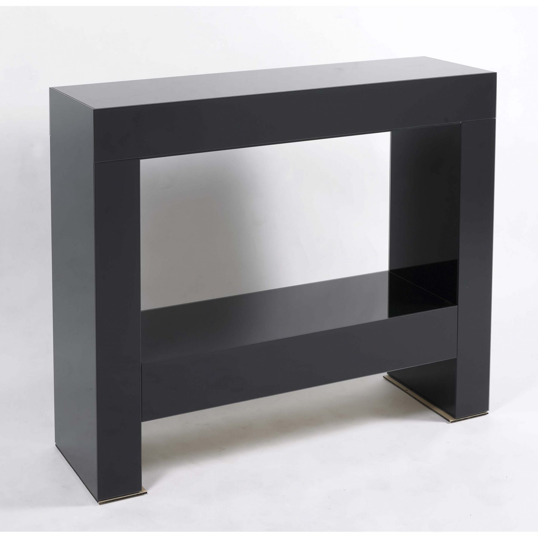 Contemporary Black Parsons Console Table With Glossy Finish Pertaining To Parsons Clear Glass Top & Dark Steel Base 48x16 Console Tables (View 3 of 30)