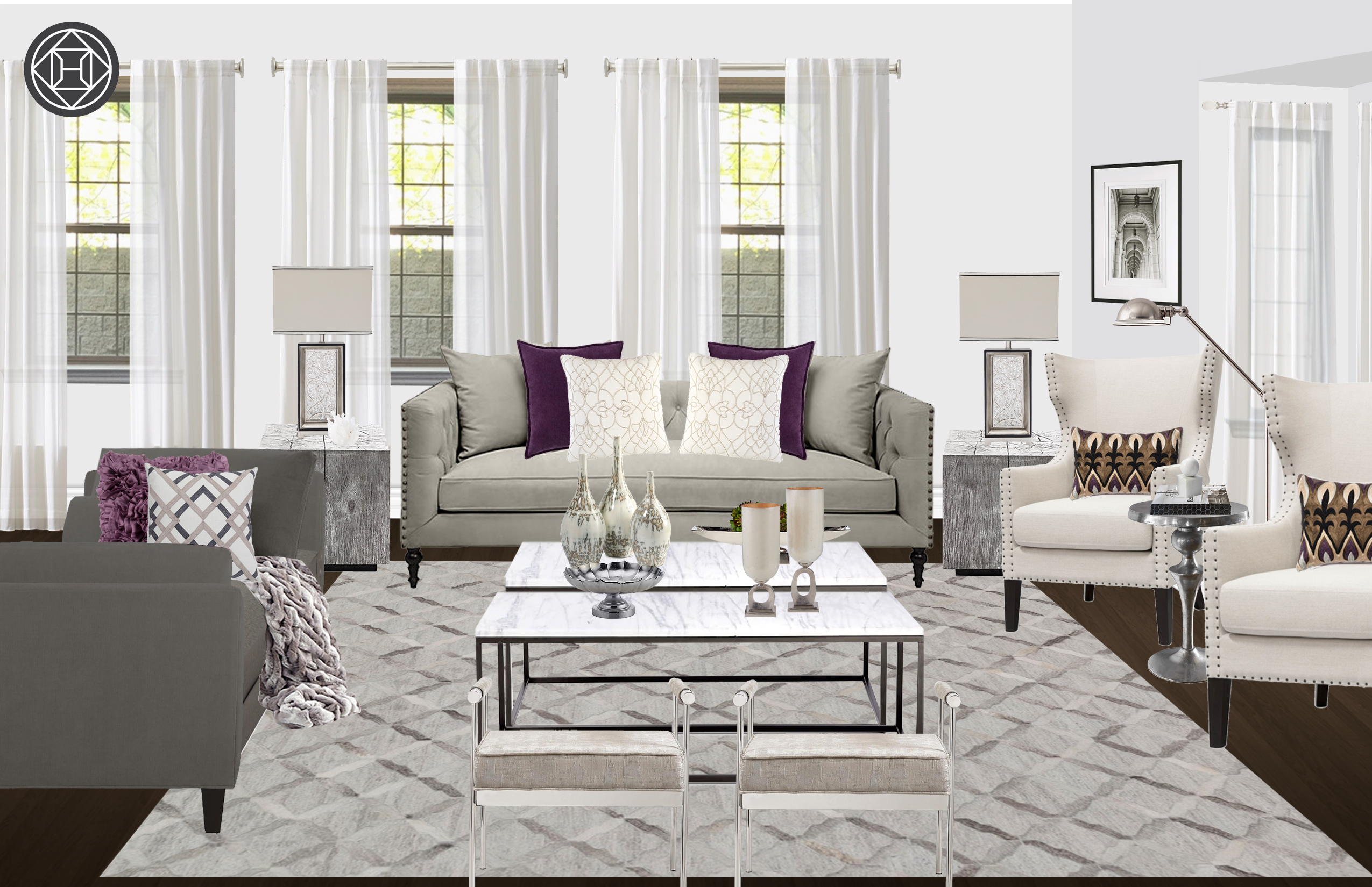 Contemporary, Classic Living Room Designhavenly Interior For Parsons White Marble Top & Elm Base 48x16 Console Tables (View 20 of 30)