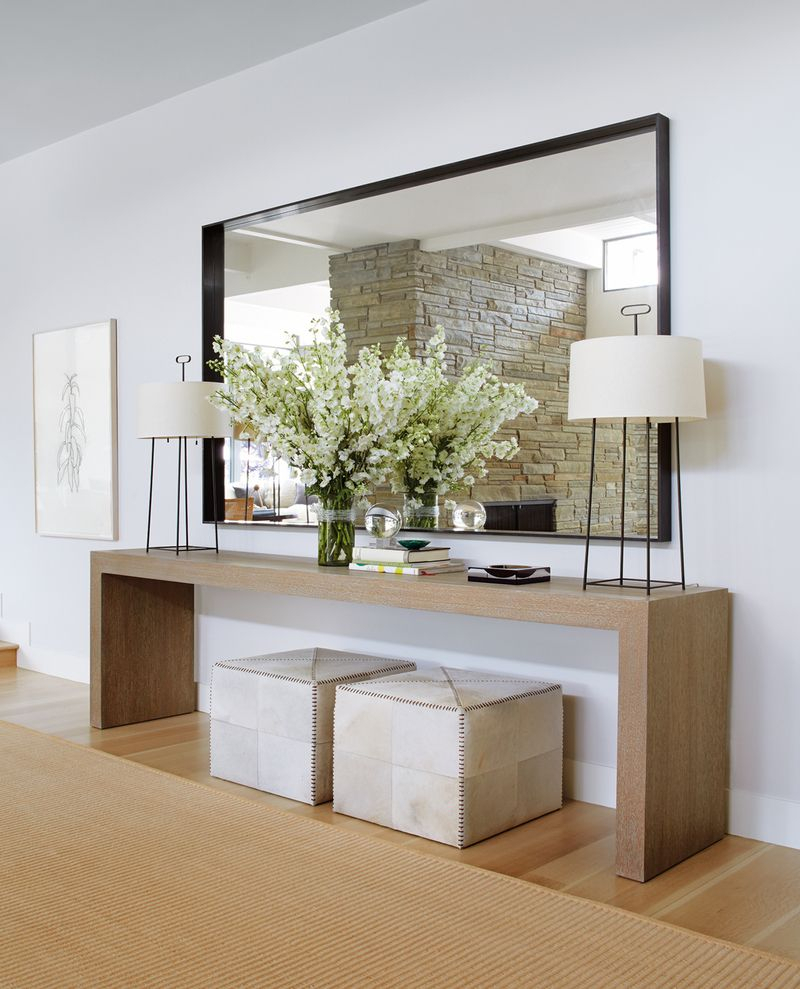 Contemporary Entry And Hall In Southampton, Nytimothy Whealon intended for Natural Wood Mirrored Media Console Tables (Image 8 of 30)