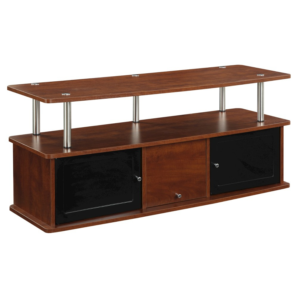 Convenience Concepts Tv Stand With 3 Cabinets – Cherry | Tv Stands Pertaining To Edwin Black 64 Inch Tv Stands (View 23 of 30)