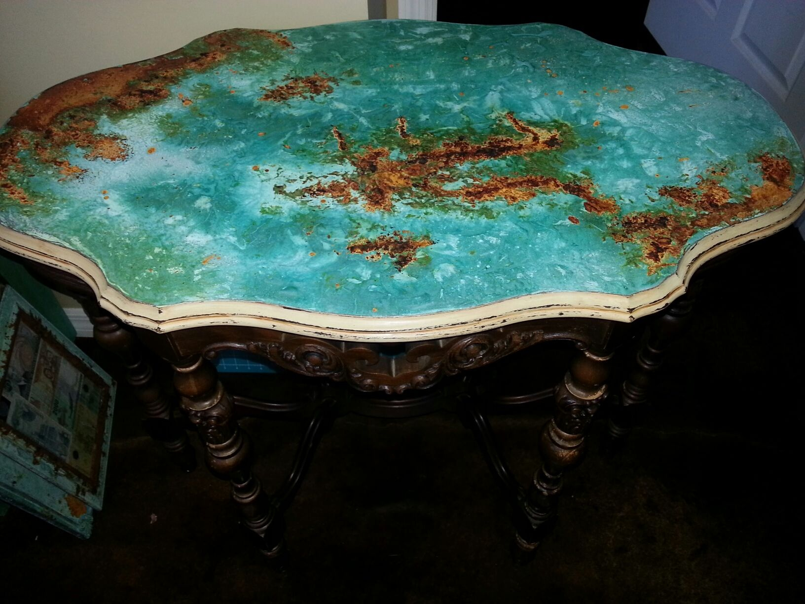 Copper/ Rust Patina Table Top With Modern Master Metal Effects with regard to Mix Patina Metal Frame Console Tables (Image 5 of 30)