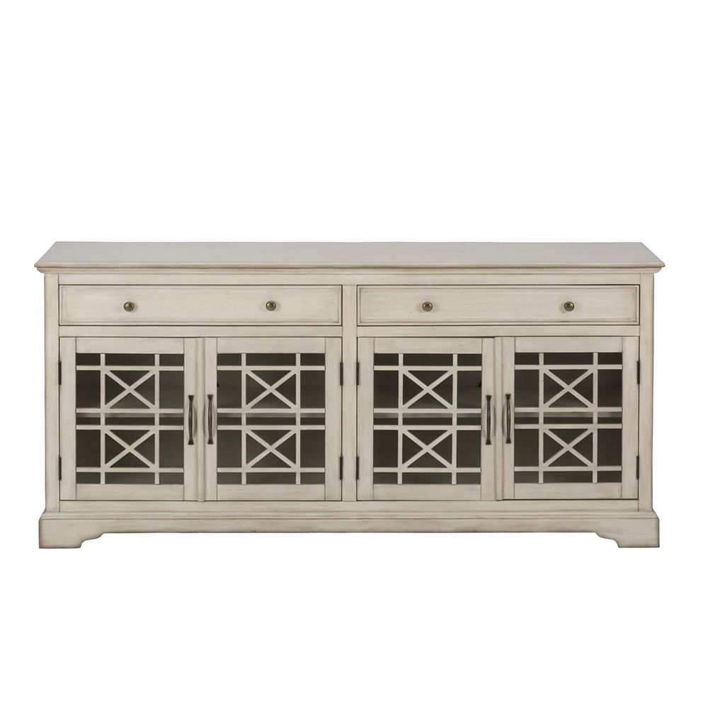 "Craftsman Antique 70"" Tv Stand Media Unit W/ Distressed Cream Finish Within Annabelle Cream 70 Inch Tv Stands (View 5 of 30)"