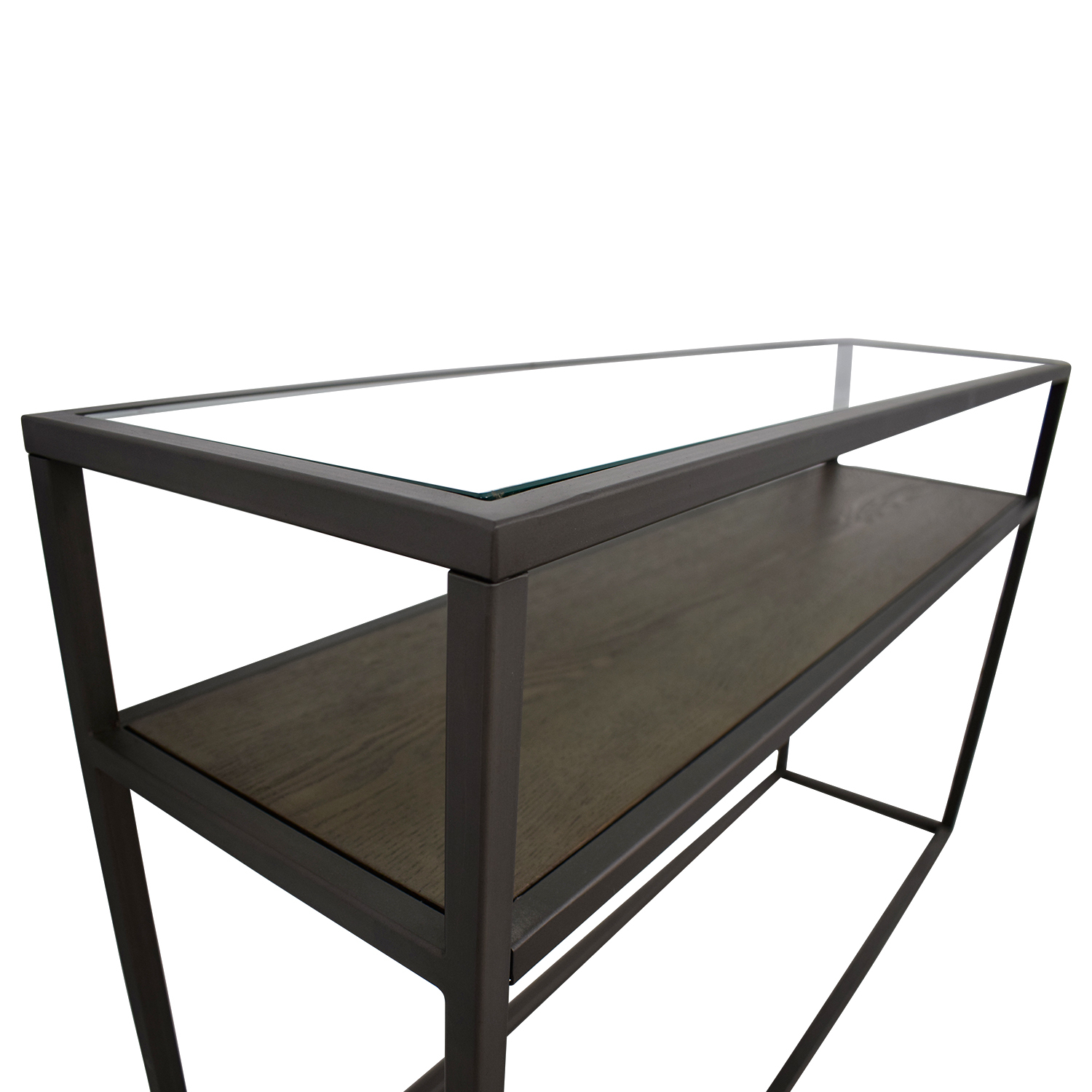 Crate & Barrel Switch Glass Wood And Metal Console Table Throughout Switch Console Tables (View 9 of 30)