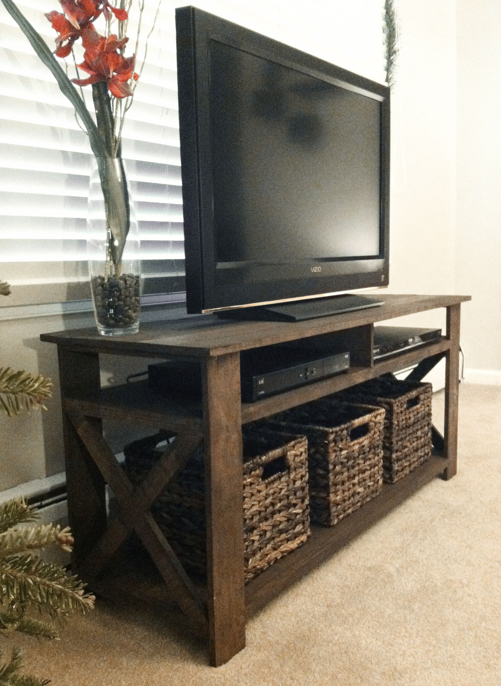 Created A Rustic Tv Stand From Old Palettes. Need Someone With The inside Walters Media Console Tables (Image 7 of 30)