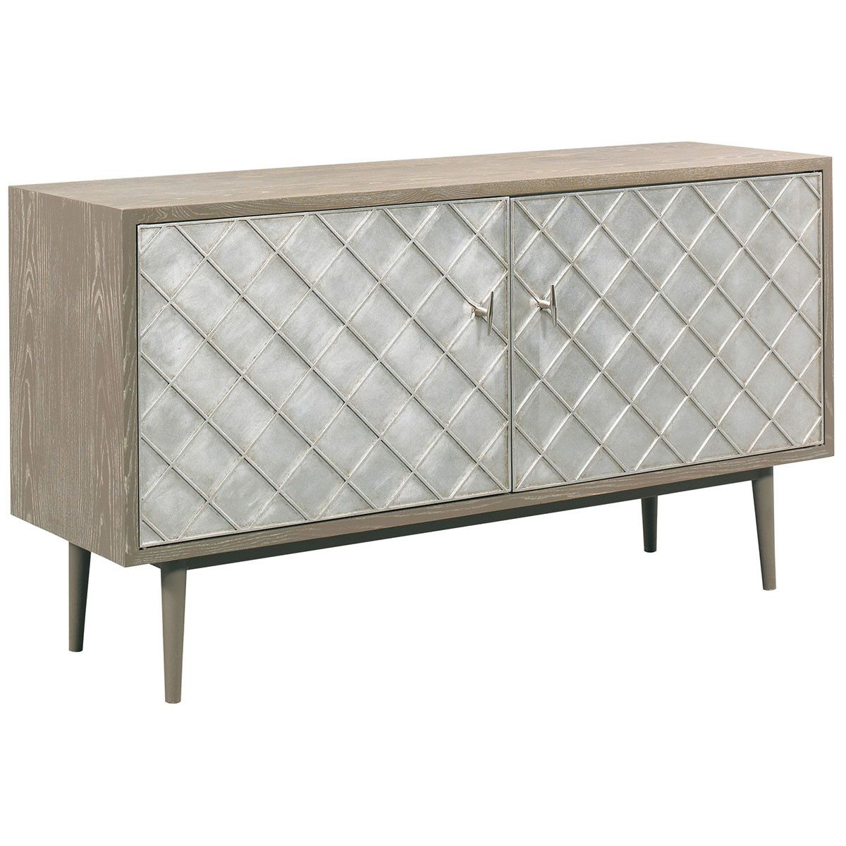 Cth Sherrill Occasional Vintage Made Modern Franco Media Cabinet for Parsons Travertine Top & Stainless Steel Base 48X16 Console Tables (Image 13 of 30)