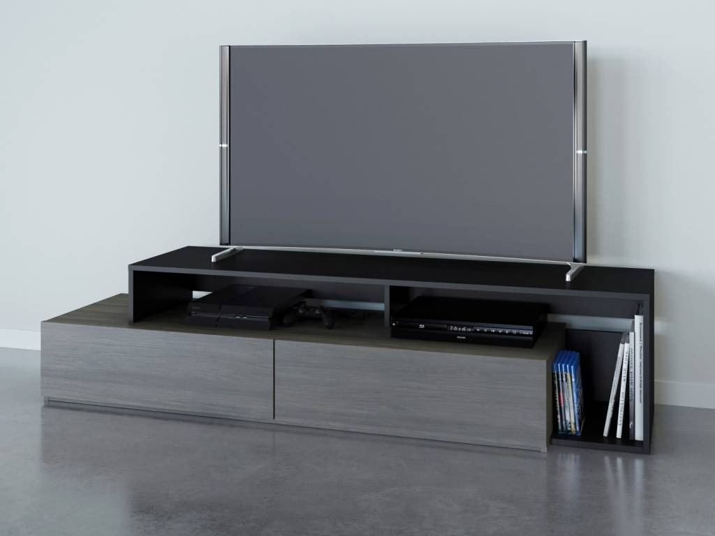 Damask Tv Stand, 72-Inch, Bark Grey And Black - M2Go regarding Murphy 72 Inch Tv Stands (Image 9 of 30)