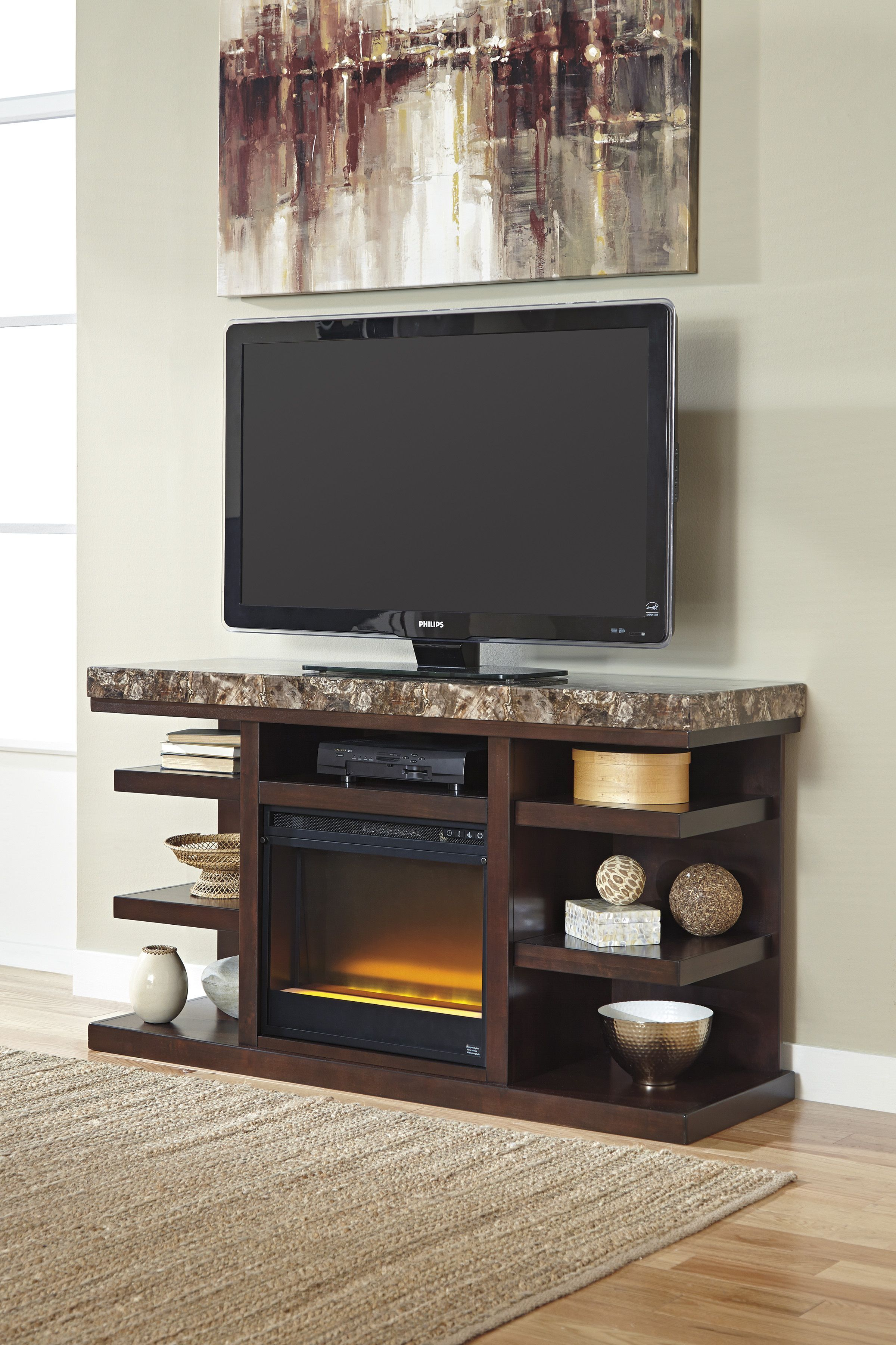 Dark Brown Lg Tv Stand With Glass/stone Fireplace | Projects To Try Intended For Edwin Black 64 Inch Tv Stands (View 3 of 30)
