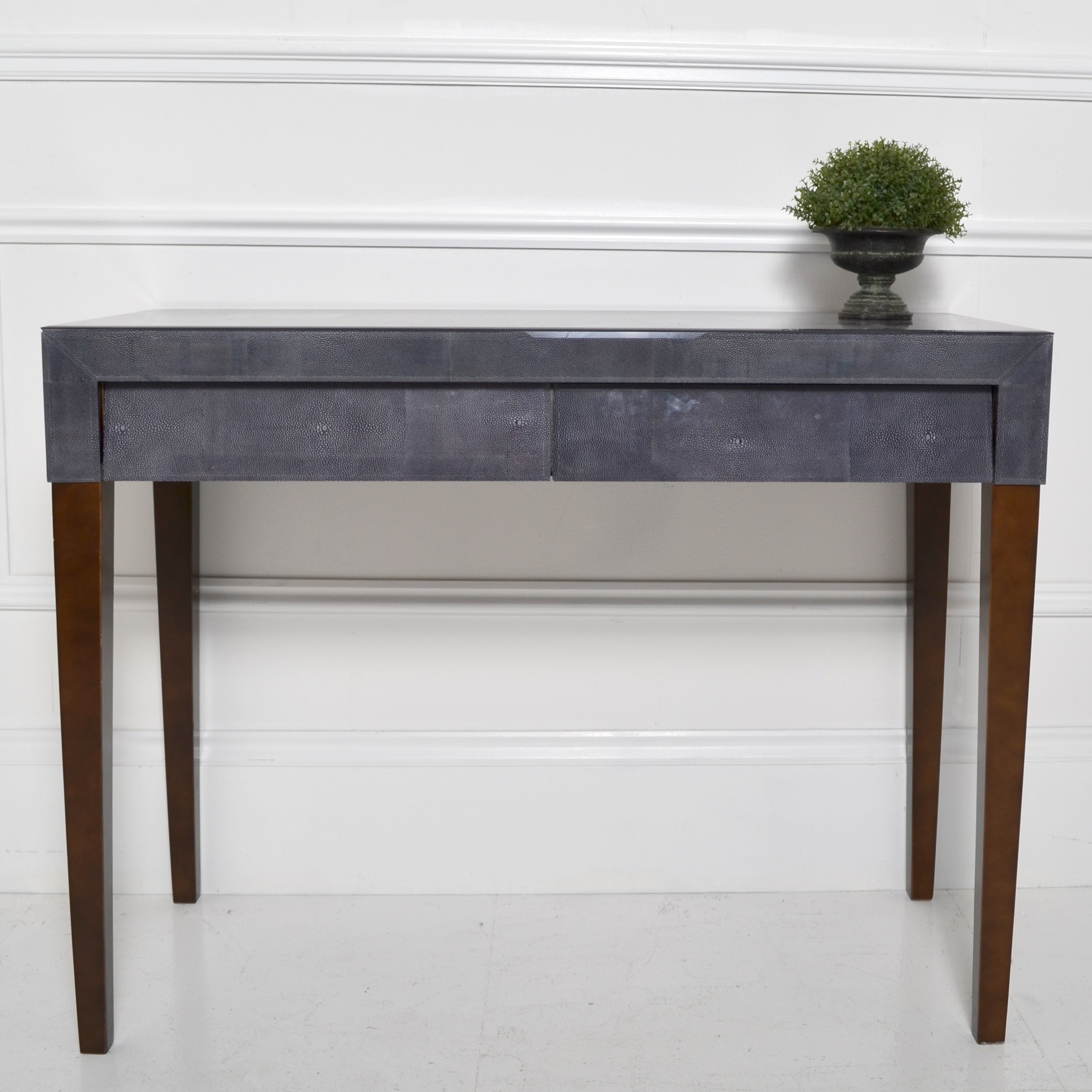 Dark Grey Shagreen Console Intended For Grey Shagreen Media Console Tables (View 3 of 30)