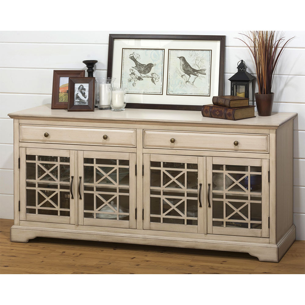 Dazzling Jofran Craftsman Tv Stand Media Unit Distressed Cream within Annabelle Black 70 Inch Tv Stands (Image 13 of 30)