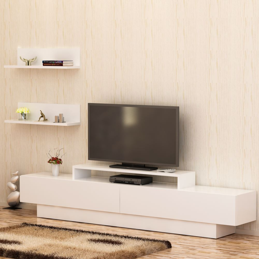 Decorotika Lusi Tv Ünitesi Beyaz – Beyaz | Tekzen For Cato 60 Inch Tv Stands (View 11 of 30)