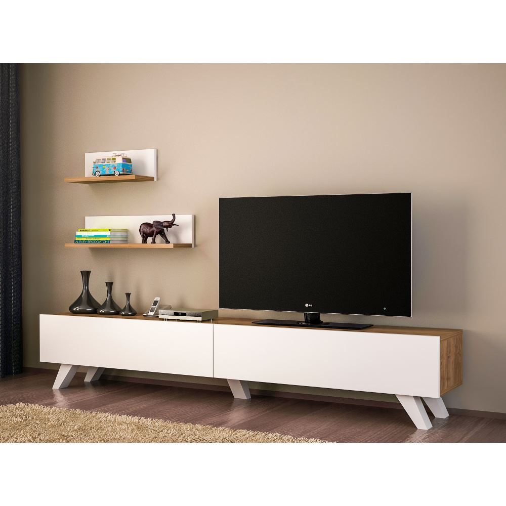 Dekorister Amerika Tv Ünitesi Beyaz-Ceviz | Tekzen throughout Cato 60 Inch Tv Stands (Image 13 of 30)