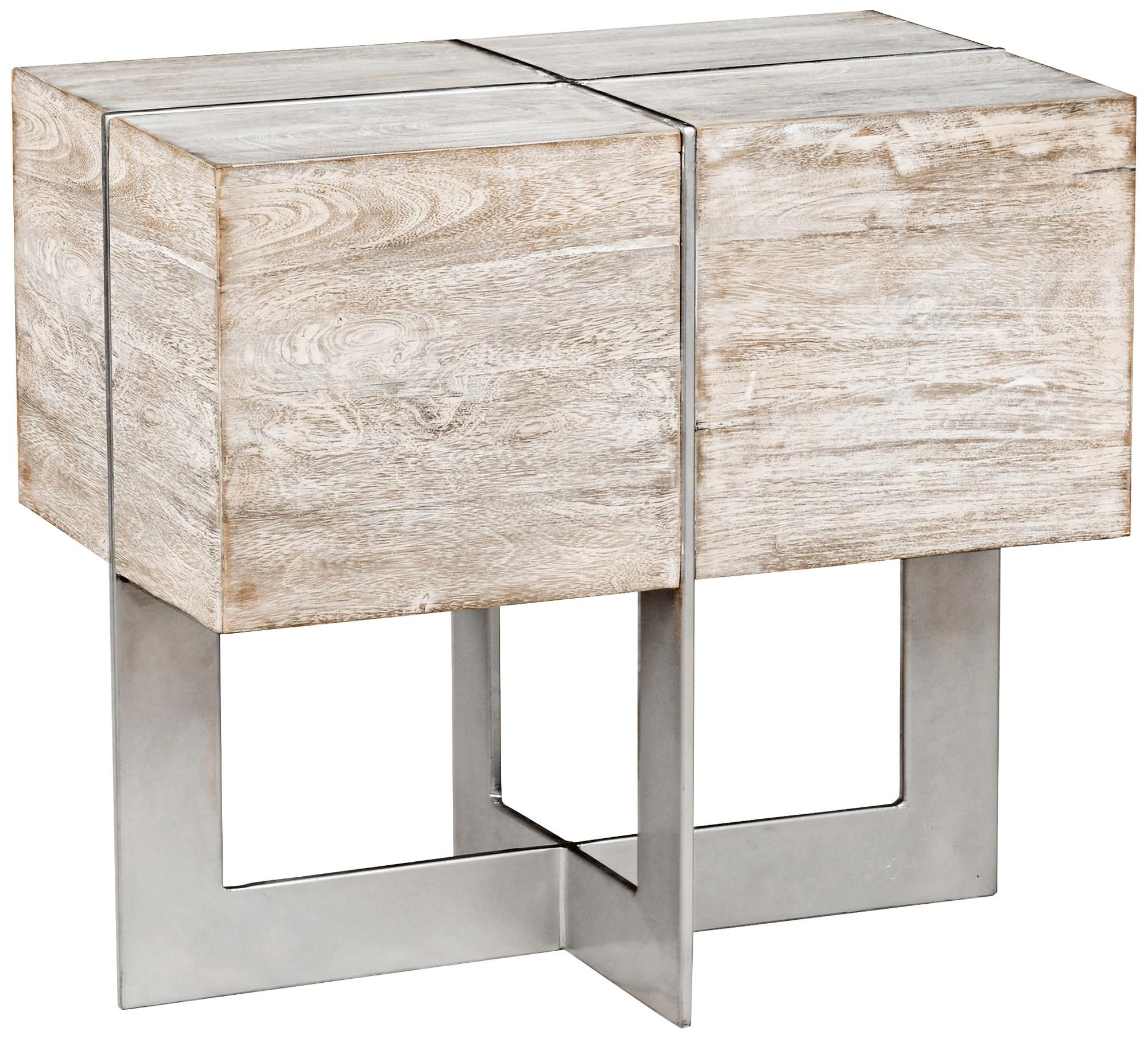 Desmond White Wash Solid Mango Wood Block End Table | Home Accents Inside Parsons Grey Marble Top & Dark Steel Base 48x16 Console Tables (View 13 of 30)