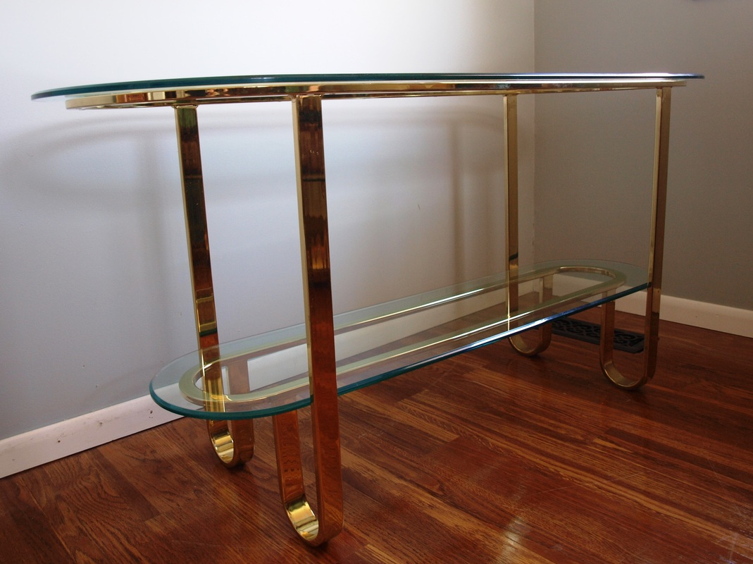 Dia Flat Bar Brass & Glass Console Table - Julesmoderne in Phillip Brass Console Tables (Image 7 of 30)