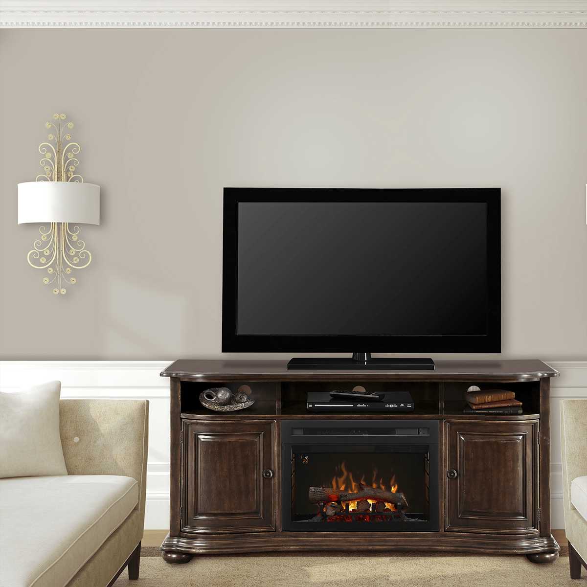 Dimplex Henderson Media Console Electric Fireplace | Sylvane With Regard To Noah Rustic White 66 Inch Tv Stands (Photo 19 of 30)