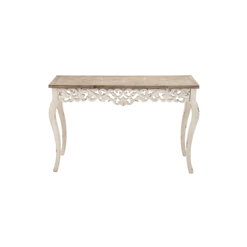 Distressed Antique White And Taupe Rectangular Parisian Inspired With Regard To Antique White Distressed Console Tables (View 7 of 30)