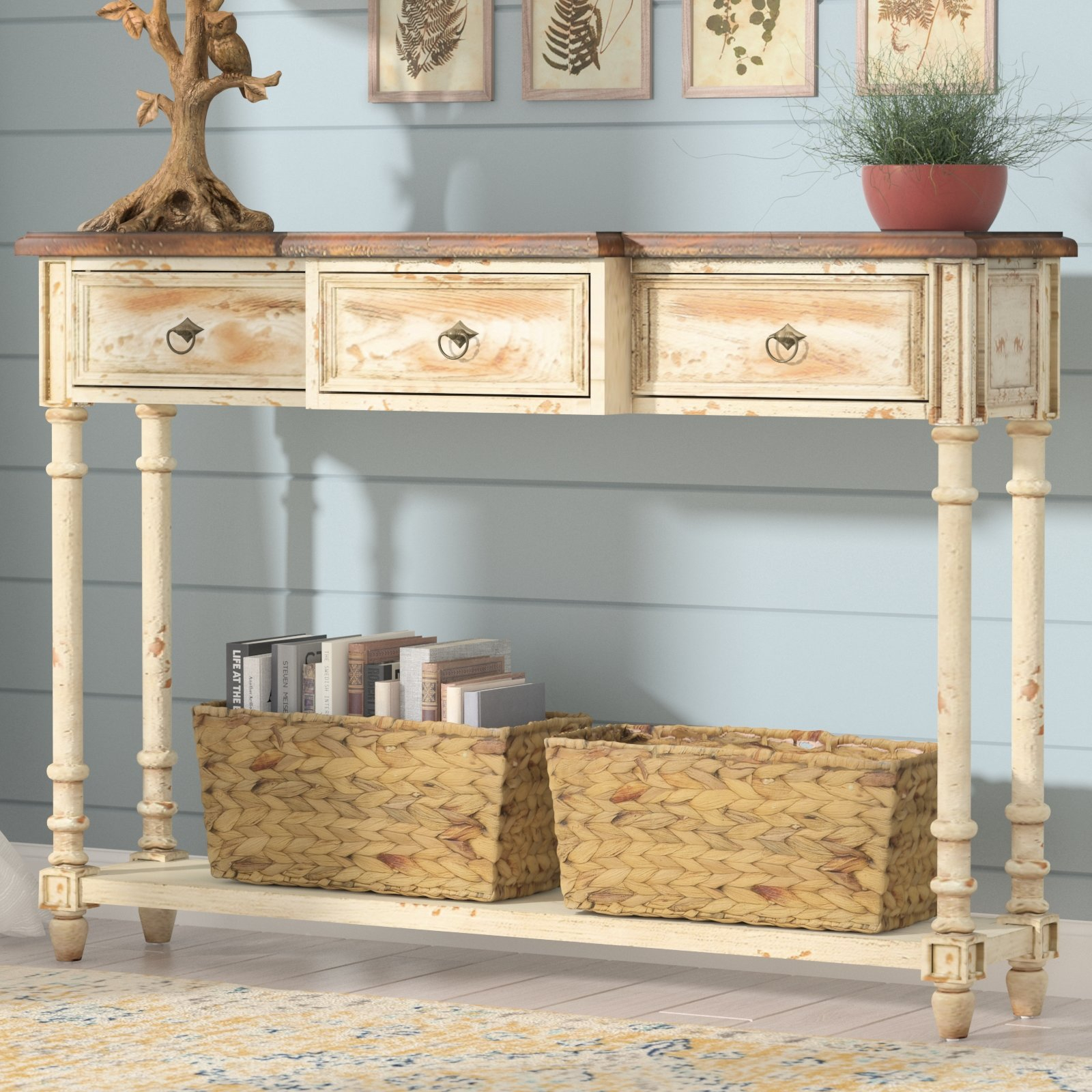 Distressed Finish Console Tables You'll Love | Wayfair in Antique White Distressed Console Tables (Image 7 of 30)