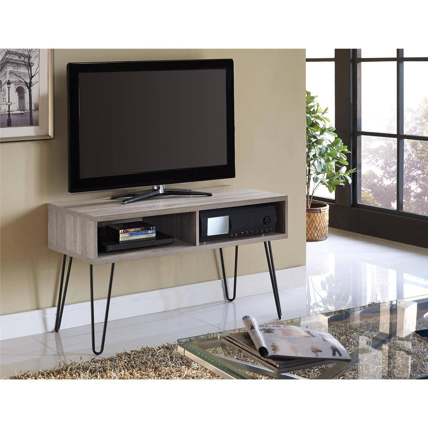 """Distressed Wood Retro Tv Stand For Tvs Up To 42"""" Media Storage Cable For Gunmetal Media Console Tables (View 19 of 30)"""