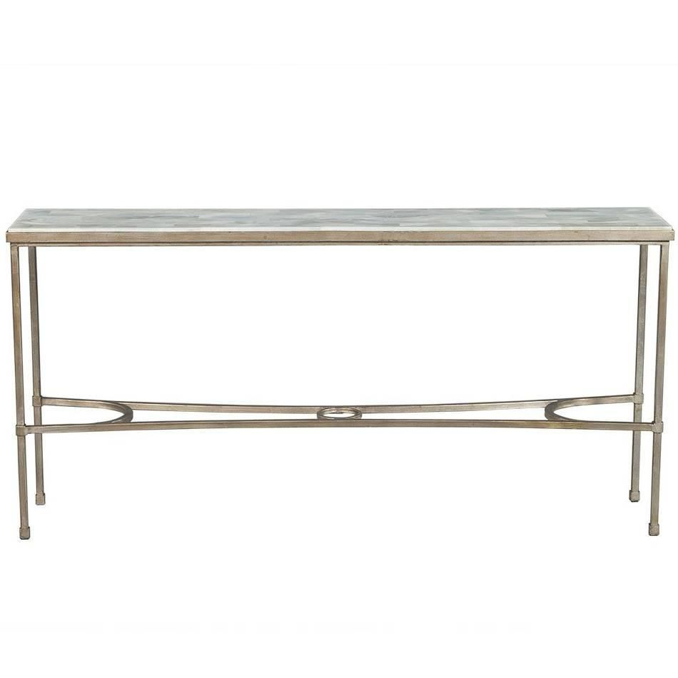 Dove White Split Face Stone Top Metal Console Table | My 1stdibs Inside Roman Metal Top Console Tables (View 6 of 30)