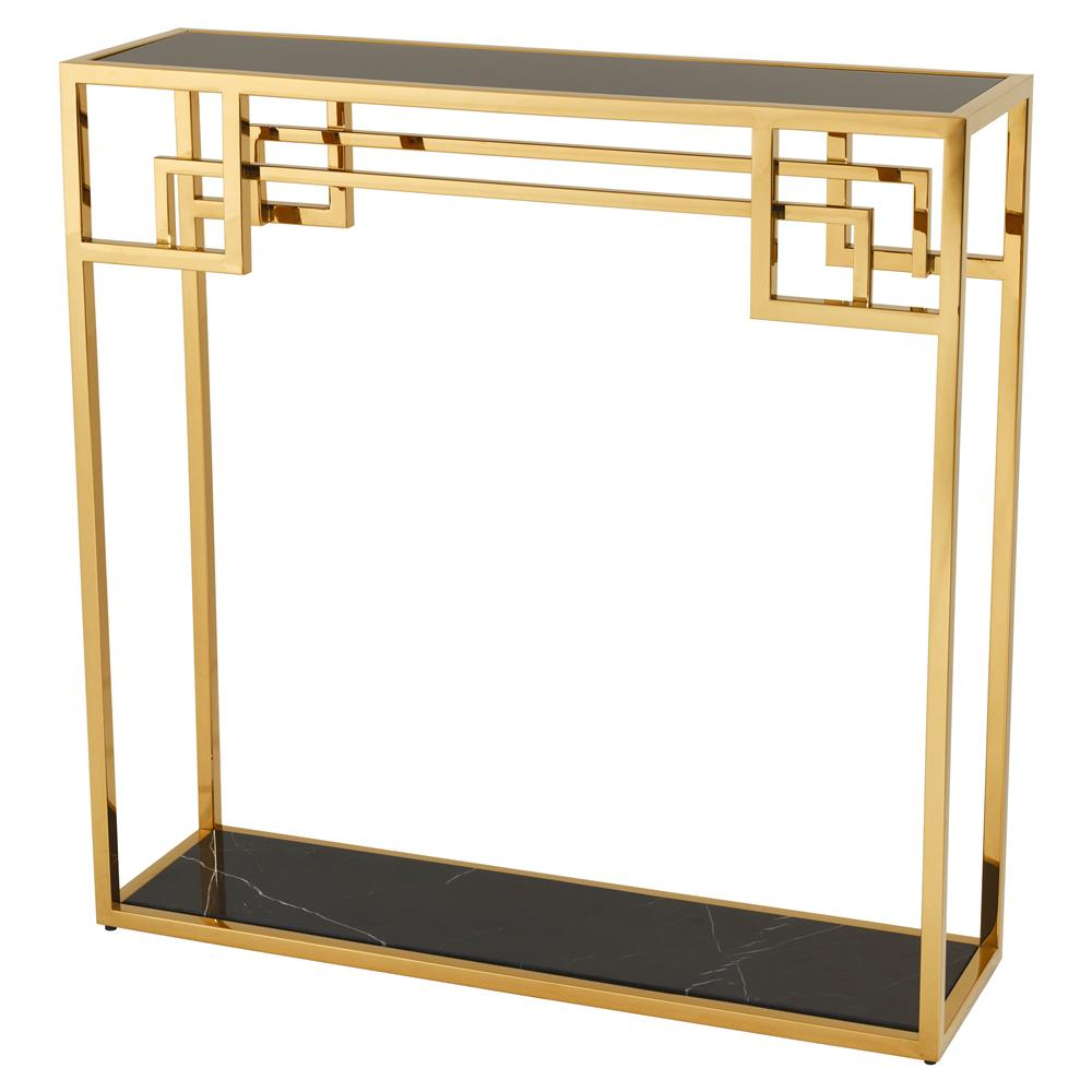Eichholtz Morris Hollywood Regency Black Marble Glass Gold Frame Throughout Frame Console Tables (Photo 18 of 30)