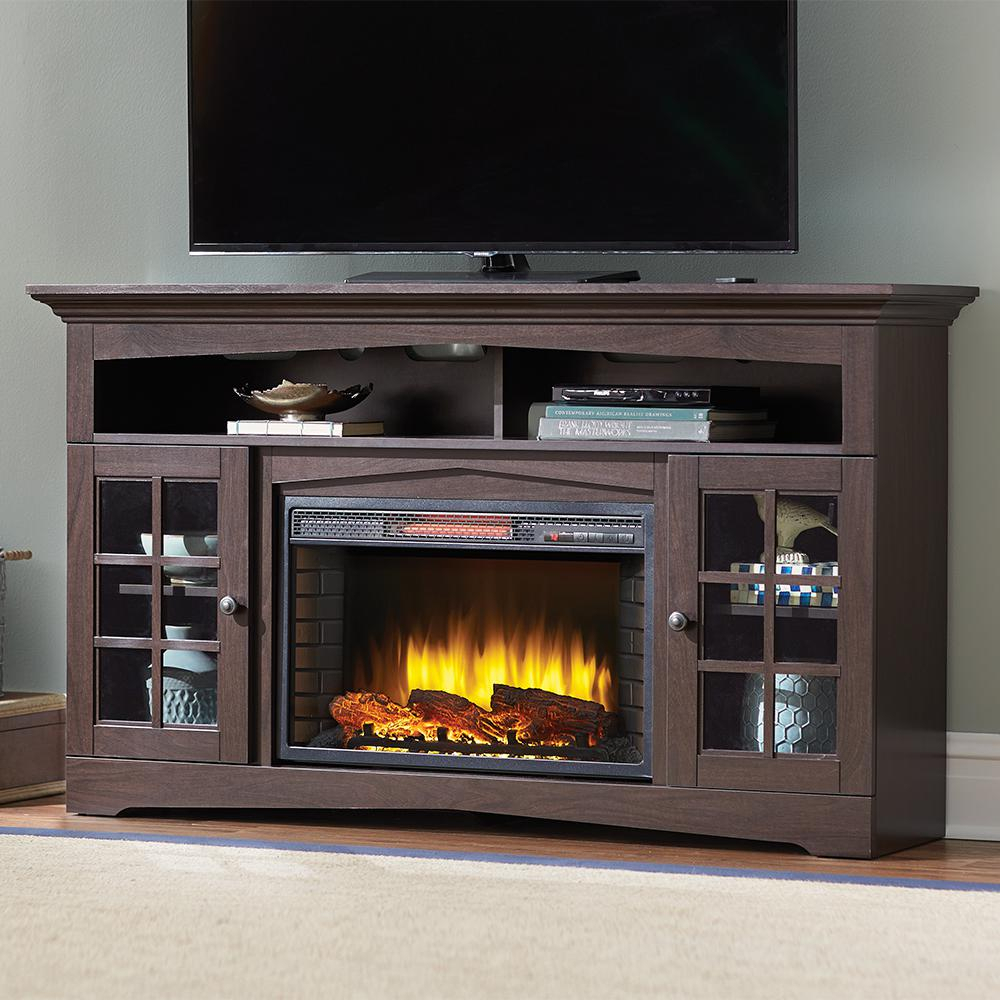 Electric Fireplaces – Fireplaces – The Home Depot Throughout Dixon Black 65 Inch Highboy Tv Stands (View 6 of 30)