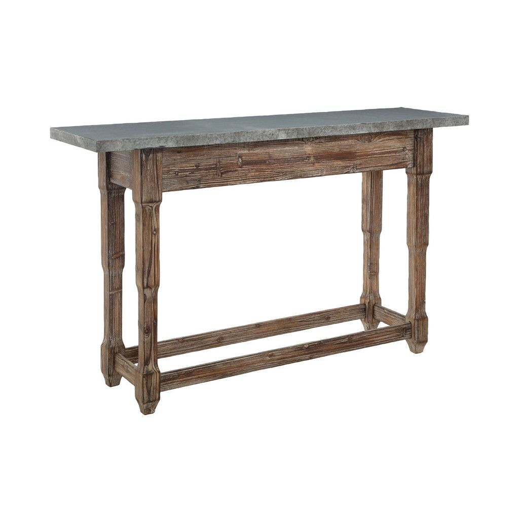 Elementary Console Table, Metal Top, Antique Finish Wood | Pinterest Within Roman Metal Top Console Tables (Photo 12 of 30)