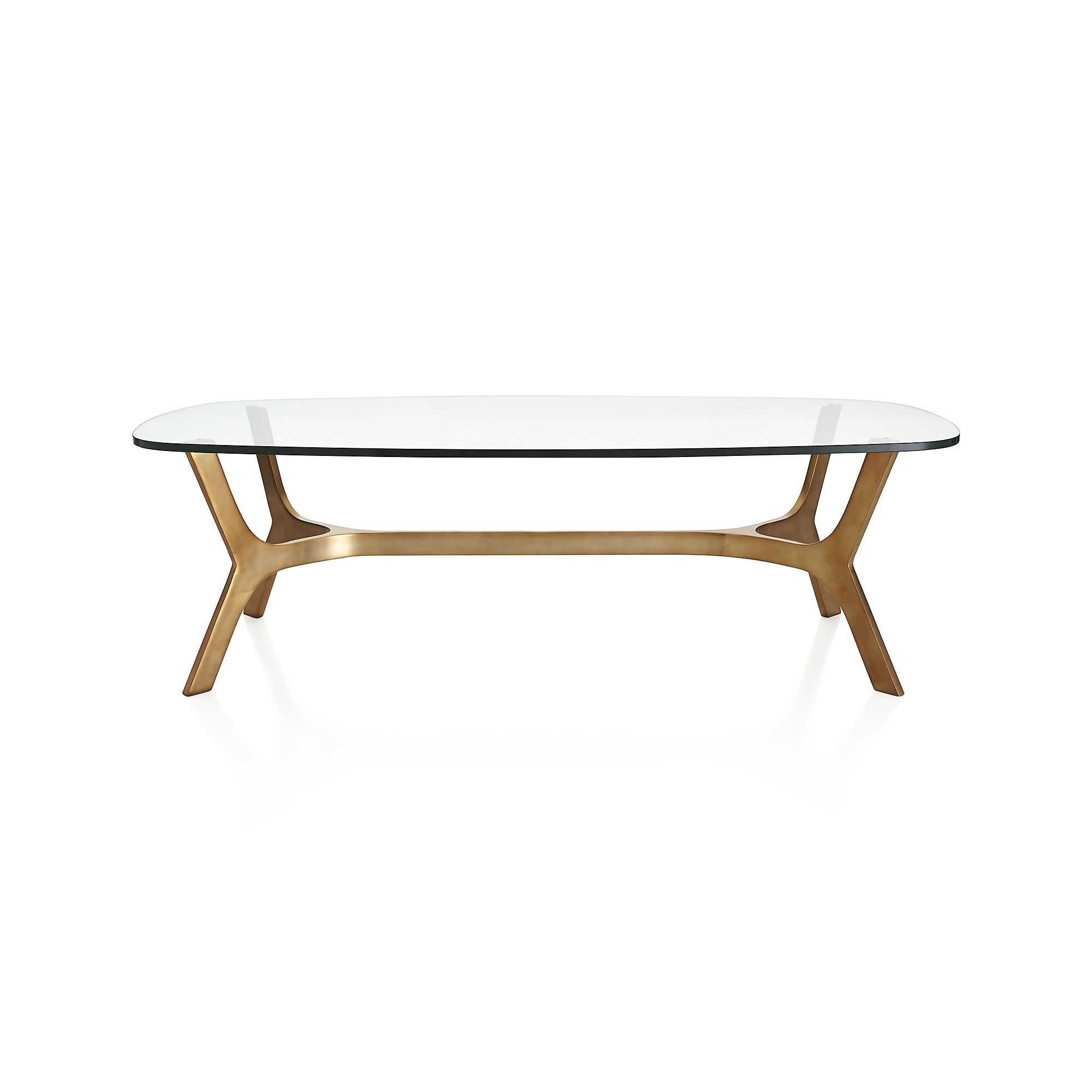 Elke Glass Coffee Table In Coffee Tables | Crate And Barrel | Leo's For Elke Glass Console Tables With Brass Base (Photo 10 of 30)