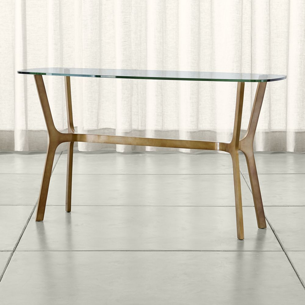 Featured Photo of Elke Glass Console Tables With Brass Base