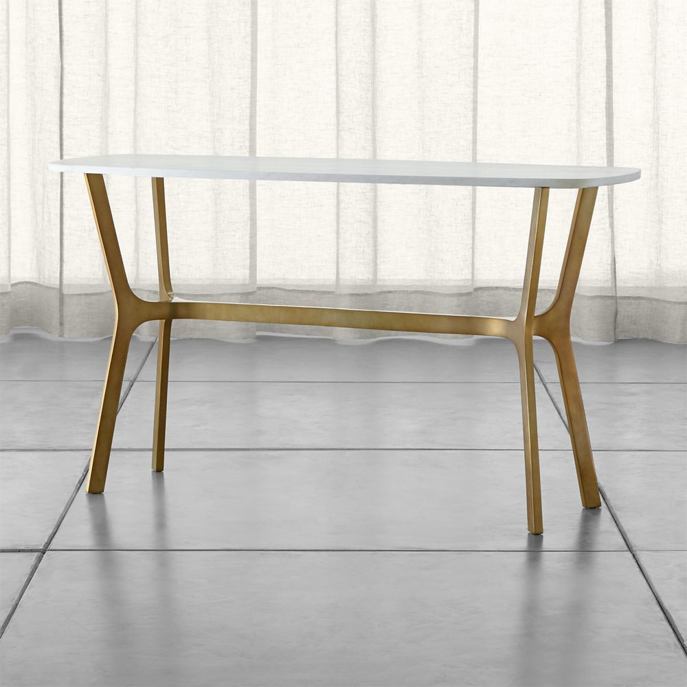 Featured Photo of Elke Marble Console Tables With Brass Base