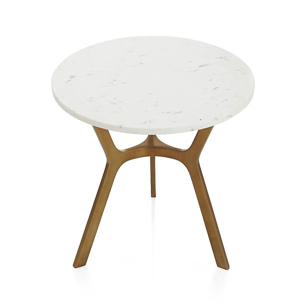 Elke Round Marble End Table With Brass Base | Mid Century Modern With Regard To Elke Glass Console Tables With Brass Base (Gallery 28 of 30)