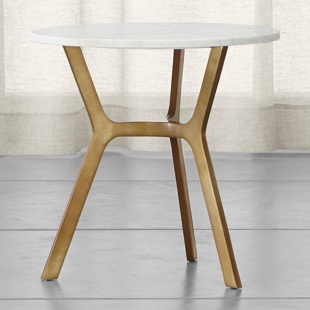 Elke Round Marble End Table With Brass Base | Products | Pinterest Regarding Elke Glass Console Tables With Polished Aluminum Base (Photo 5 of 30)