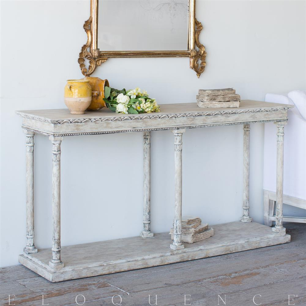 Eloquence Gustav Console Table In Oak Driftwood | Kathy Kuo Home In Oscar 60 Inch Console Tables (Photo 8 of 30)