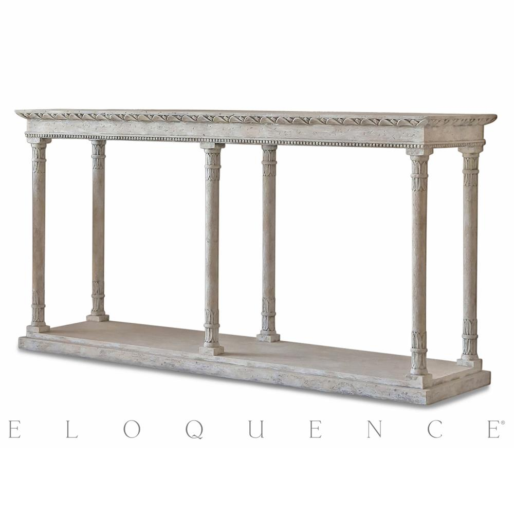 Eloquence Gustav Console Table In Oak Driftwood | Kathy Kuo Home throughout Oscar 60 Inch Console Tables (Image 12 of 30)