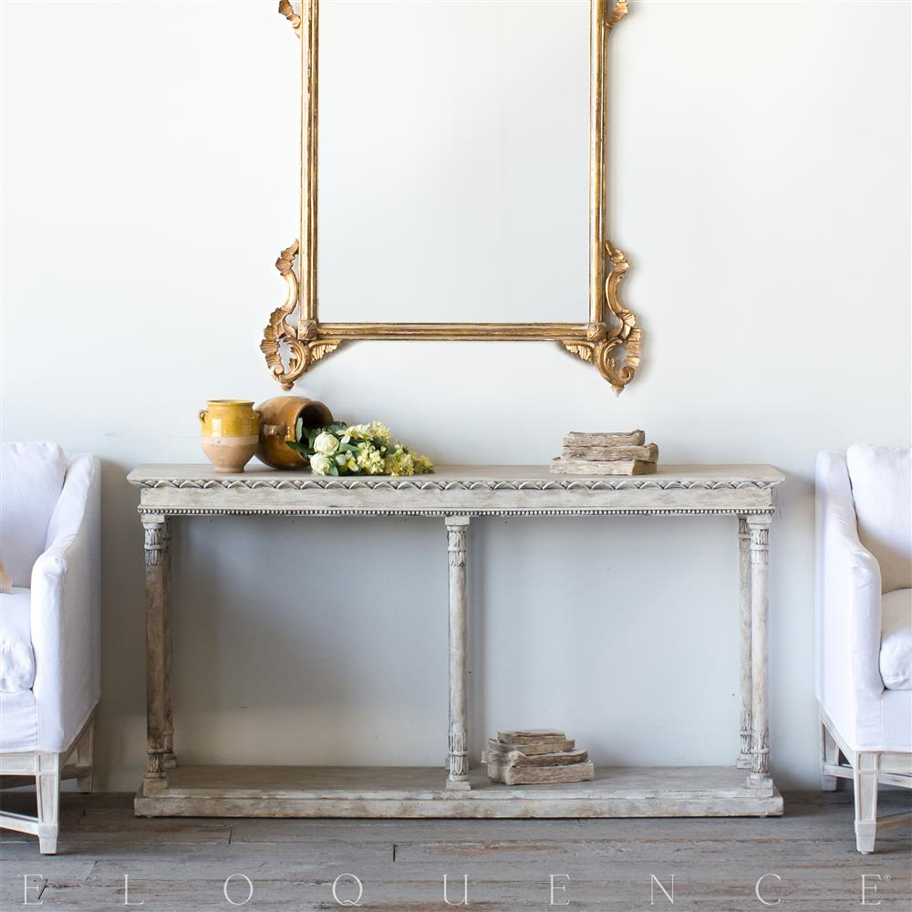 Eloquence Gustav Console Table In Oak Driftwood | Kathy Kuo Home within Oscar 60 Inch Console Tables (Image 13 of 30)