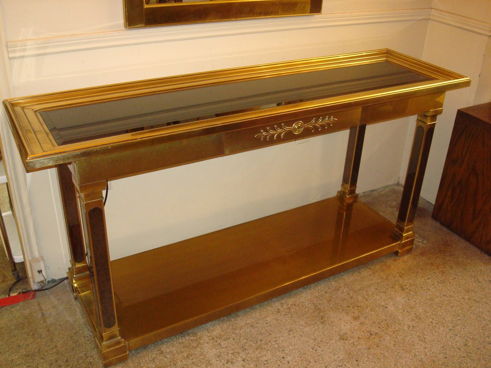 Era Antiques: 1970's Mastercraft Brass Console Table Featuring A Inside Era Glass Console Tables (View 16 of 30)