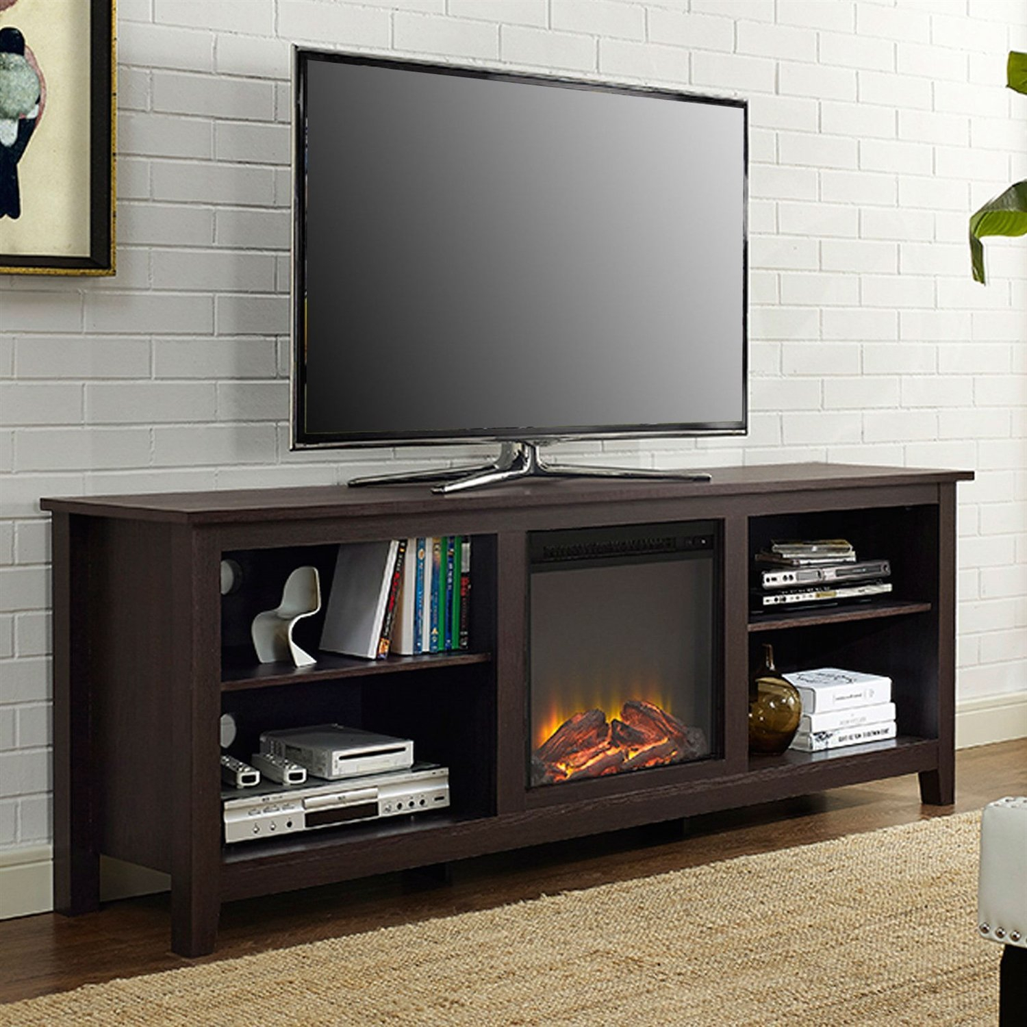 Espresso 70-Inch Electric Fireplace Tv Stand Space Heater | Products within Annabelle Black 70 Inch Tv Stands (Image 14 of 30)