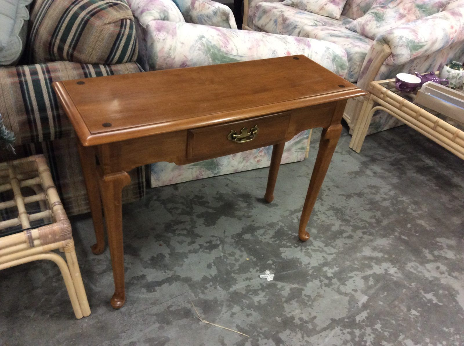 Ethan Allen 1 Drawer Table • Antique Ethan Allen One Drawer Maple Within Ethan Console Tables (Photo 30 of 30)