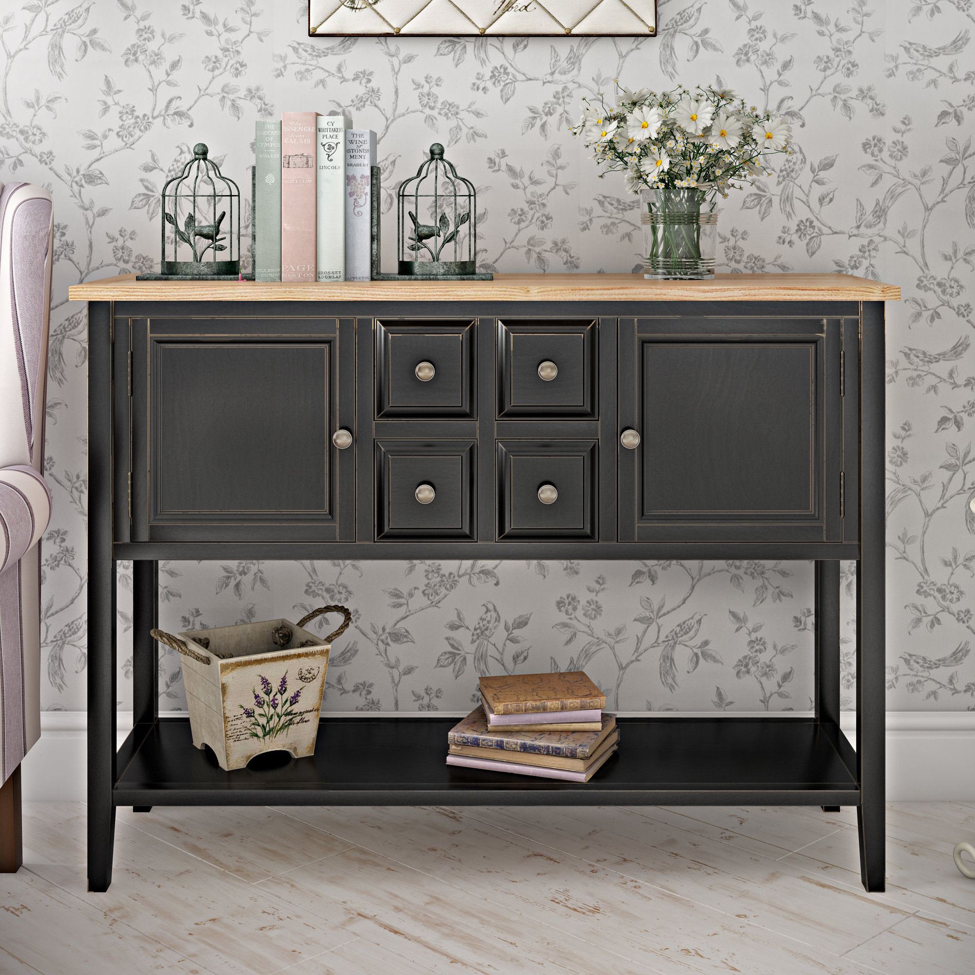 Extra Tall Console Table | Wayfair For Natural Wood Mirrored Media Console Tables (Photo 15 of 30)