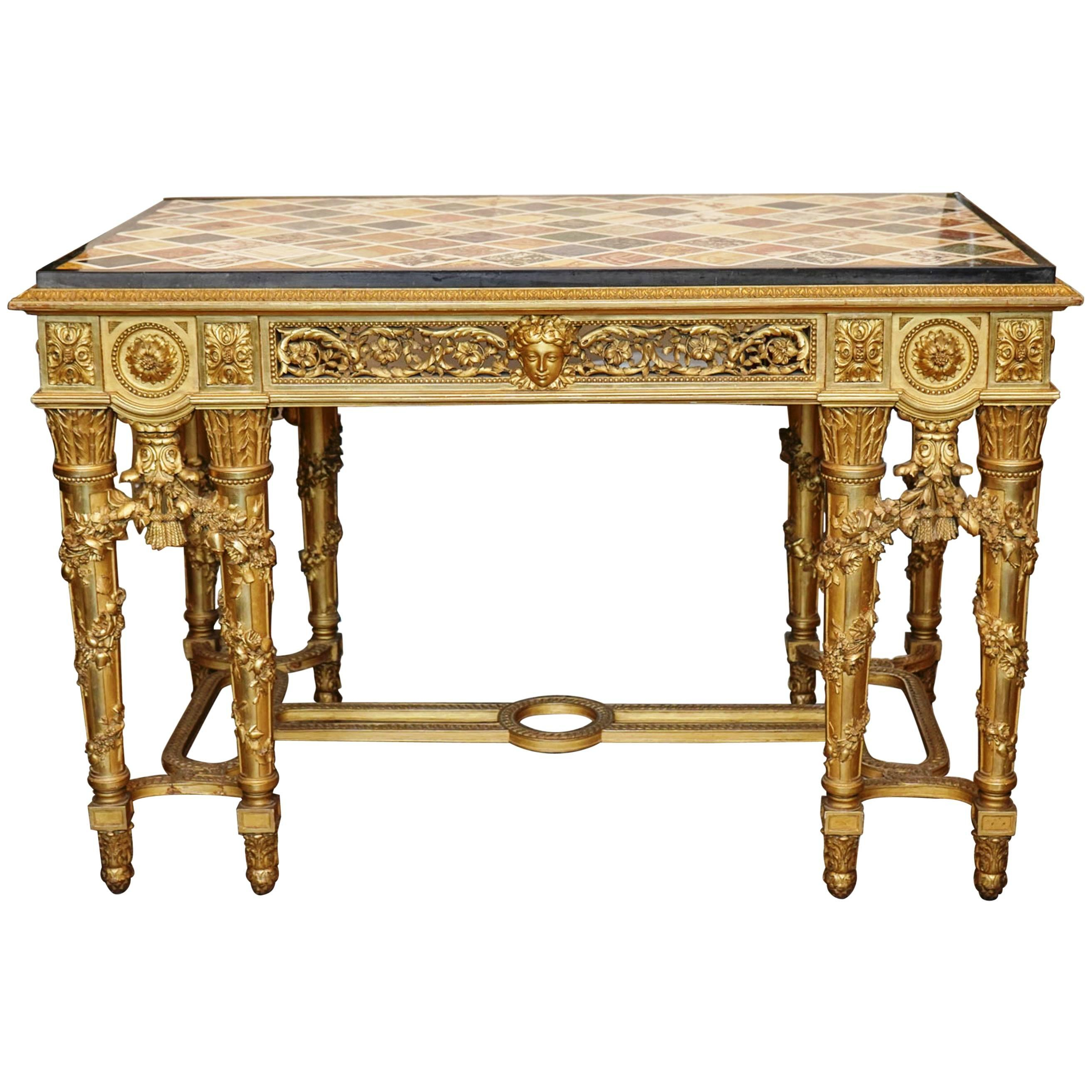 Extraordinary Rectangular Giltwood Centre Table 19Th Century Marble for Intarsia Console Tables (Image 9 of 30)
