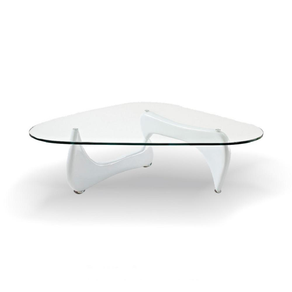 Fab Glass And Mirror Noguchi Style Coffee Table White Color With Regarding Elke Marble Console Tables With Polished Aluminum Base (View 18 of 30)