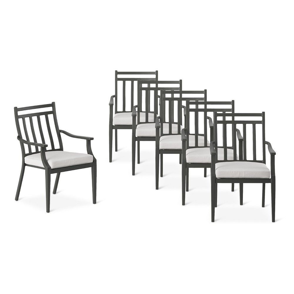 Fairmont Steel 6pc Patio Dining Chairs – Linen – Threshold For Parsons Grey Marble Top & Dark Steel Base 48x16 Console Tables (View 20 of 30)